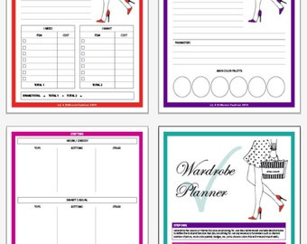 Printable Wardrobe Planner, Printable Planner, Fashion Planner, Digital Print, Fashion Print, Instant Download, Organizer, Worksheets