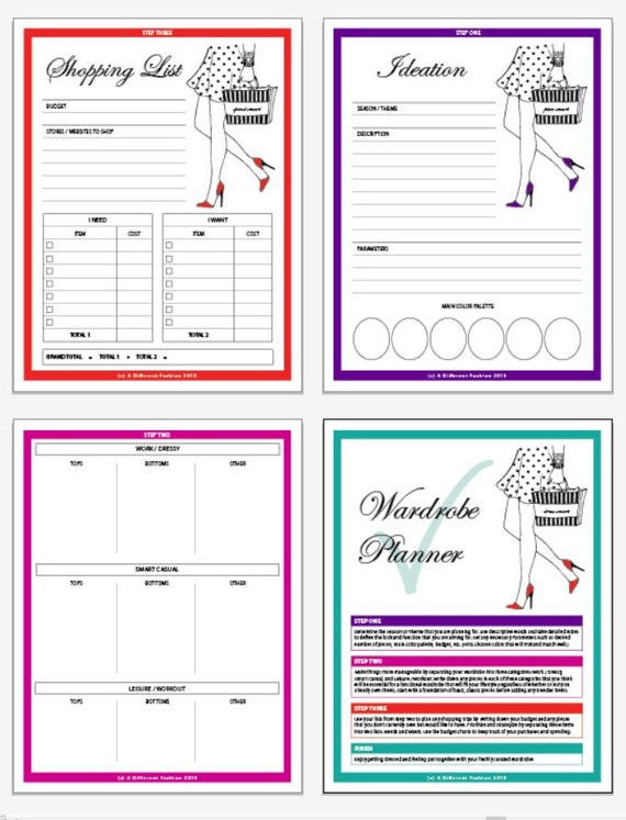 printable wardrobe planner printable planner fashion. Black Bedroom Furniture Sets. Home Design Ideas