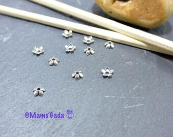 Set of 20 Cup/Cap 6mm color silver REF:2 flower petals / 155