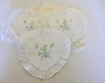 Empty Embroidered Sachet Cases, Heart-Shaped Lavender Sachet Covers, Set of Three White Cotton Heart-Shaped Sachet Bags, NOS