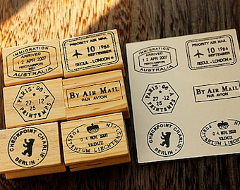 Vintage Wood Postmark Stamp Set - Rubber Stamp Set -Diary Stamp-TraveL Stamp- Deco Stamps-E