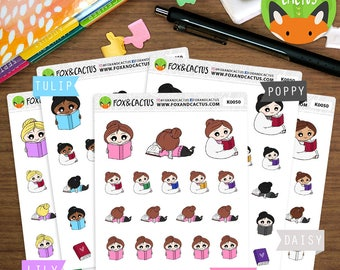 Reading Kawaii Girls - Book Read Study Bookworm Novel Me Time Relaxing - Planner Stickers (K0050)