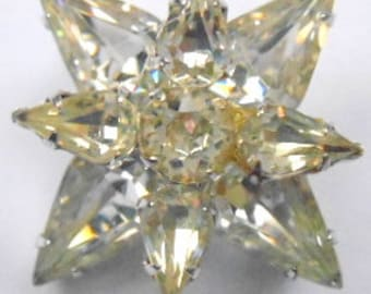 Vintage Brooch Highly Faceted Layered Glass Star Clear