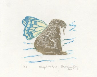 Winged Walrus Mini Linocut - Imaginary Hybrid Composite Creature, Cryptozoology Series Tiny Lino Block Print - Walrus with Butterfly Wings