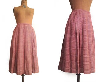 Vtg. 50s Red & white Wool Plaid Pleated Midi skirt