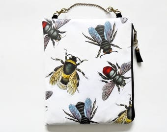 Womens gift ideas, Large waterproof hanging cosmetic bag, bees, queen bees, vintage bees, oilcloth bag, wipe clean pouch.