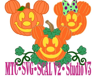 Halloween Mouse Pumpkins Bundle of 4 SCAL Silhouette MTC SVG Cut File Die Cut