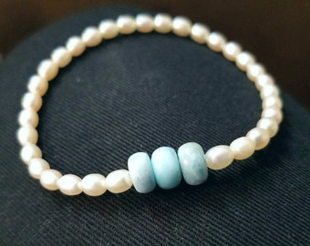 "Ocean Blues - 7"" Larimarite & Freshwater Pearl Stackable Stretch Bracelet"