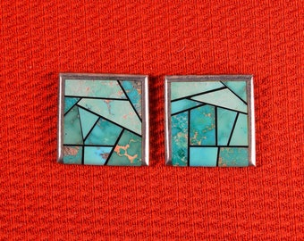 NATIVE American  Zuni Channel Inlay Post Earrings