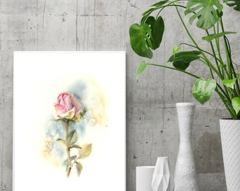 Pink Rose Fine Art print, flower watercolor painting art, single rose wall art print, modern botanical print of rose