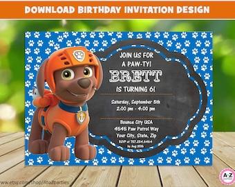 Paw Patrol Invitation - EDITABLE TEXT - Zuma Customizable Paw Patrol Birthday Party Invite - Zuma - Instant Download - 5x7 design