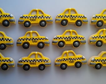Old Fashioned Taxi Cab Cookies - One Dozen Decorated Cookies