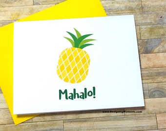 Mahalo Pineapple Stationery - Thank You Cards - Tropical Fruit Cards - Note Cards - Hawaiian Thank You Cards DM250