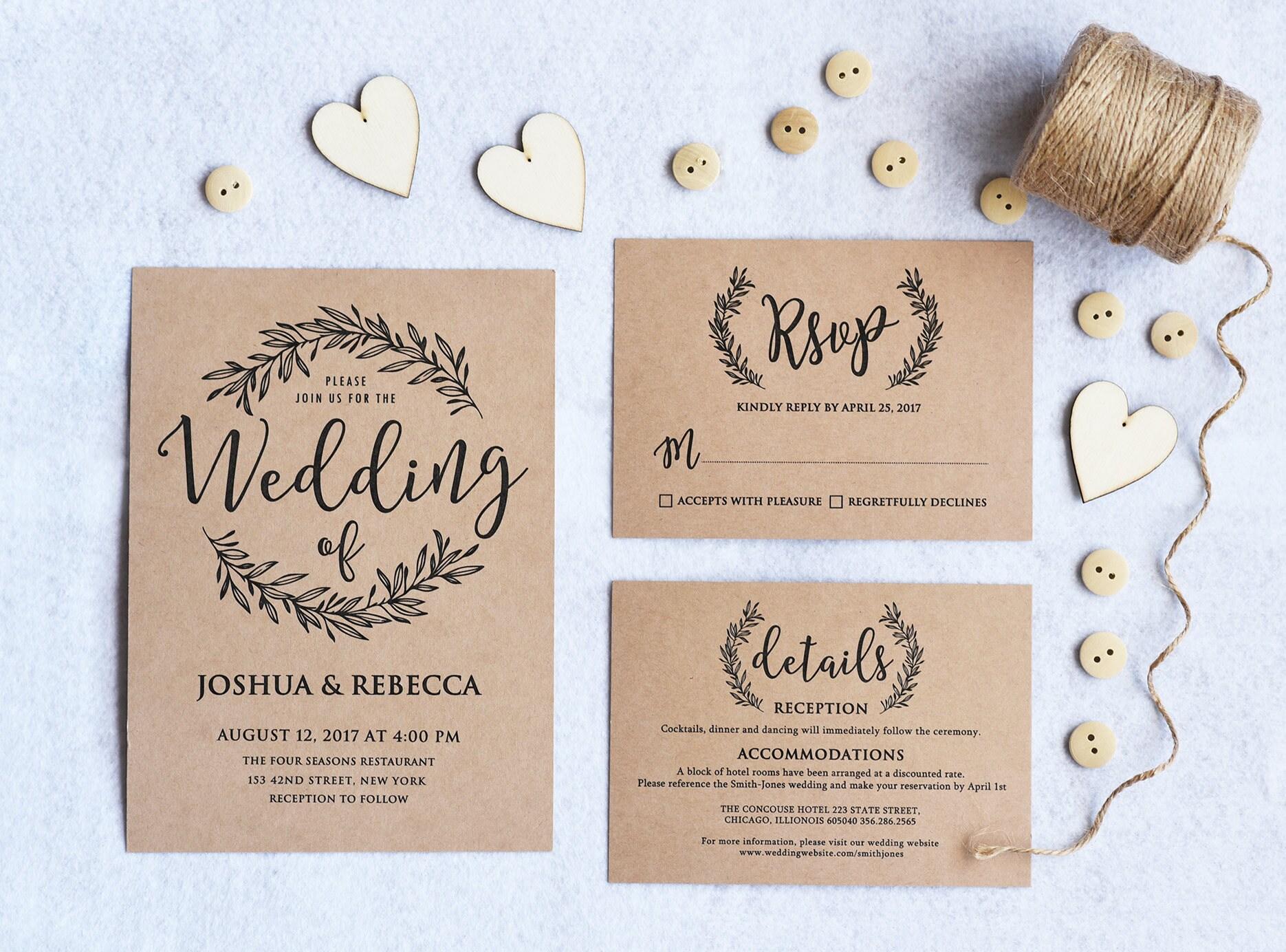 Kraft Wedding Invitation Printable Rustic Wedding Invitation - Wedding invitation templates: hotel accommodations template for wedding invitations