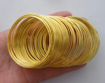 100 Loops memory wire 50 - 55mm gold plated