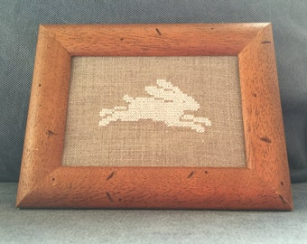 Made to Order White Cross Stitch Hare Running Embroidery Woodland Decor White Silk on Natural Linen