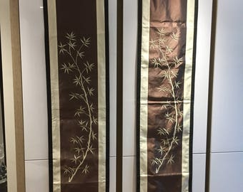 A pair of  silk Table Runners/ Wall Hanging from Vietnam