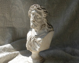 French antique religious bust of Jesus Christ, religious chalkware statue, plaster statue, jean d'arc living, antique bust, French décor