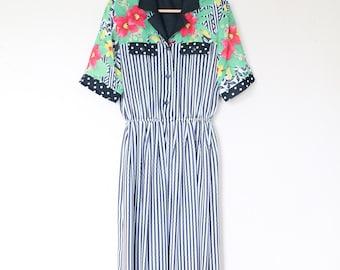 1980s Floral Shoulder Striped Dress