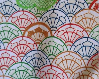 "Vintage Japanese green silk kimono fabric  36"" x 14""  Genji-guruma wheel pattern  92 cm x 36 cm"