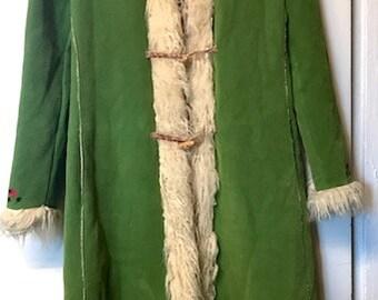 Faux Fur Faux Suede Afghan Coat