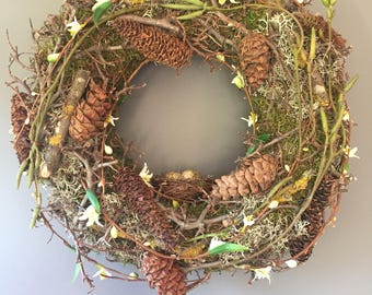 Natural wreath, Easter wreath, Door Wreath, cone wreath, mossed wreath, spring wreath