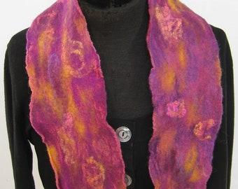 Purple & Yellow Nuno Felt Silk Sunset Scarf