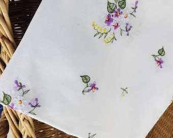 Shrinking Violet Vintage German Embroidered Table Square Violets Spring Blooms Tea Table Charm Easter Decor Baby Shower Shipping Included