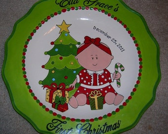 Personalized Pottery Plate ceramic baby Christmas gift