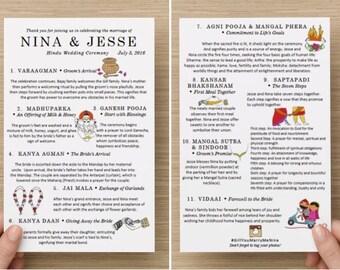 HINDU Printable Indian Wedding Ceremony Program with drawings - CUSTOM PDF