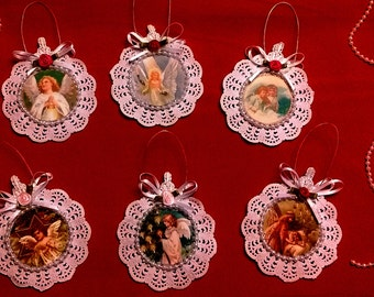 Set of 6 Handmade Vintage Style Victorian Christmas Card Tree Ornaments - Angels