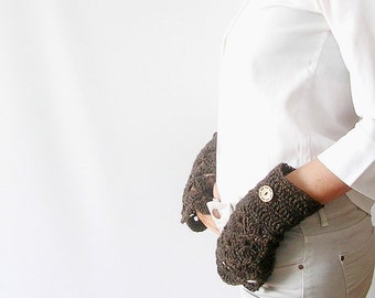 Chocolate Brown Arm Warmers Lace Fingerless Gloves Mittens