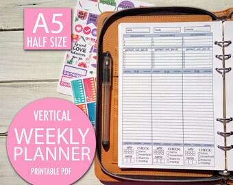 2018 Weekly Planner, Weekly Planner, A5 Planner, Planner, Planner insert, Filofax A5 Planner Inserts To Do List Printable Planner To Do List