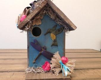 Blue Hummingbird and Dragonfly Birdhouse