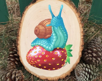 PREORDER A MIGHTY FEAST snail strawberry painting, gouache on wood slice , basswood, watercolor