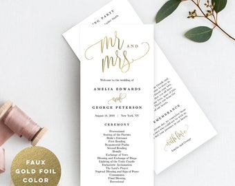 Wedding Program Editable Template - Printable Wedding Program - Instant Download - Lovely Calligraphy #LCC Faux Gold Foil Color