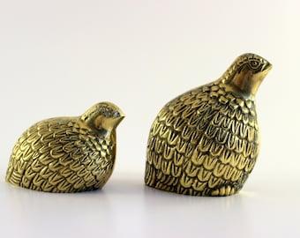 Brass Quail - Set of 2
