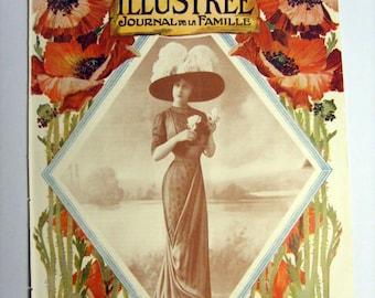 Superb Original Vintage (1910) FRENCH FASHION MAGAZINE Cover - (lot019)