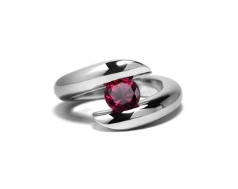 Garnet Ring Two Tone Tension Set Mounting in Stainless Steel