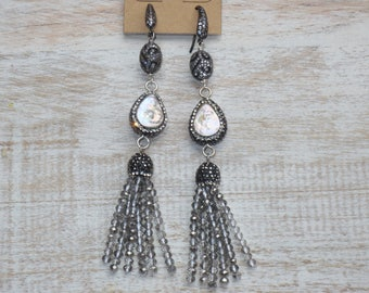 Boho Chic Pave Cz Crystal Tassels w/ Ornate Pave & Freshwater Pearl Beads Dangle Earrings