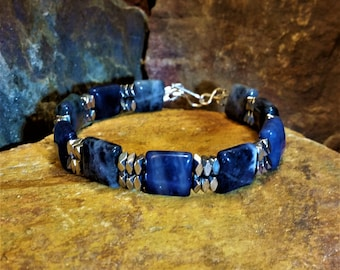 Mens Bracelet, Womans Bracelet,Mens Jewelry, Gemstone Bracelet, Sodalite  Bracelet, Hematite Bracelet, Blue Bracelet, For Him,