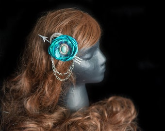 Blue Steampunk fascinator Steampunk Southwestern turquoise fascinator Steampunk Wild West Steampunk Costume Steampunk Cowgirl