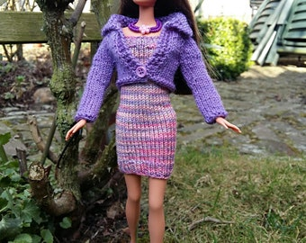 dollclothes: handknitted dress and cardigan for Barbie