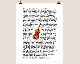 The Touch of the Master's Hand - hand lettered - calligraphy print - original art - inspirational art - print - master's hand recitation