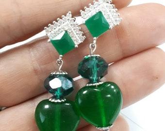 Emerald Green Earrings Pendants