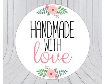 Handmade with love stickers, handmade stickers, handmade with love labels, packaging stickers, handmade labels, 001
