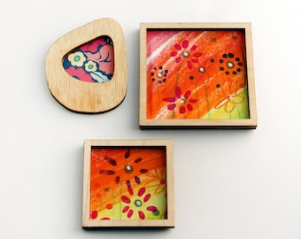 Set of 3 Miniature Artworks - Swish Sunset Flowers