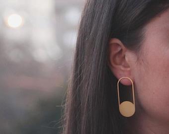 Gold dangling earrings, gold filled long earrings for women, sun earrings, silver abstract earrings, gold plated geometric earrings for gift