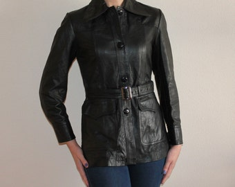 Vintage Leather Jacket Black Leather Jacket Black Jacket Womens Leather Blazer Genuine Leather Jacket Biker Jacket Rocker Jacket Fitted