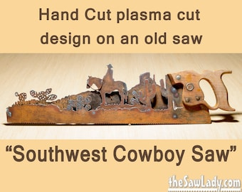 Metal Art Southwest Cowboy on horse w/ Cactus - Hand (plasma) cut handsaw Wall Decor | Garden Art | Recycled Art | Made to Order for Cowboys